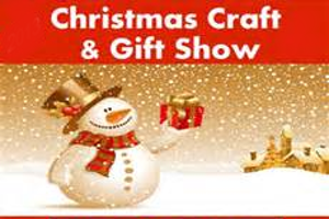 Snowman in snow with the words Christmas craft and gift show